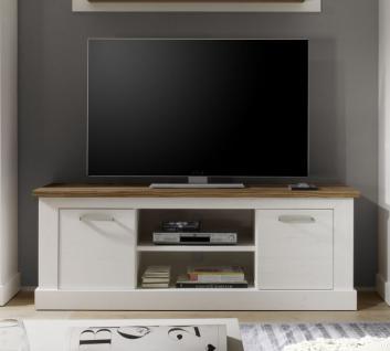 TV-Unterteil Lowboard Toronto Anderson Pinie weiß mit Nussbaum Satin 160 x 60 xm