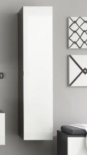 Hochschrank Beach Badezimmer Schrank hängend weiß grau Hochglanz 35 x 157  cm Spiegel innenseitig