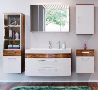 Badmöbel Set Rima in Walnuss und weiß Hochglanz Badkombination 7-tlg. inkl. Waschbecken und Spiegellampe 210 x 190 cm