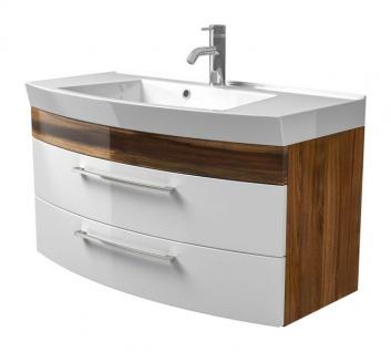 Waschbeckenunterschrank Rima in Walnuss und weiß Hochglanz Waschplatz hängend inkl. Waschbecken Set 2-tlg. 100 x 57 cm