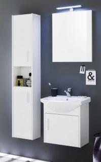 Badmöbel Komplett Set Jersey in Hochglanz weiß und weiß Dekor 4-teilig Badezimmer inkl. Keramik-Waschbecken