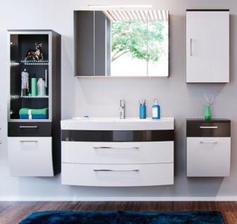 Badmöbel Set Rima in anthrazit und weiß Hochglanz Badkombination 7-tlg. inkl. Waschbecken und Spiegellampe 210 x 190 cm