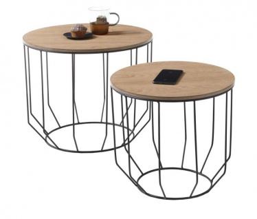"""Couchtisch """" Haiti"""" 2er Set in Eiche furniert geölt Beistelltisch mit Metallgestell schwarz 2 x Tisch Wohnzimmer"""