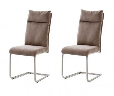 2 x Stuhl Pia in Sand Chenille-Optik und Edelstahl Freischwinger mit Griff hinten Esszimmerstuhl 2er Set