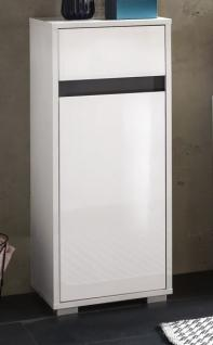 Badschrank Kommode SOL Lack Hochglanz weiß und grau Unterschrank 35x89 cm