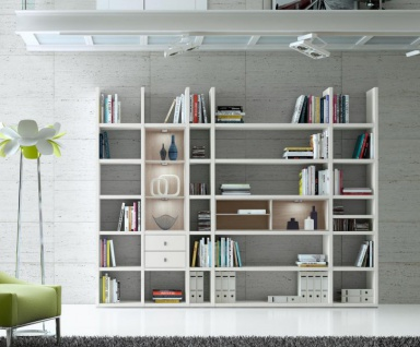 Wohnwand Bücherwand MDor Dekor Lack weiß matt Eiche Natur LED-Beleuchtung Breite 284 cm