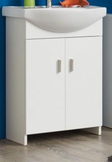 Waschplatz mit Waschbecken echt Lack Hochglanz weiß 57x85 cm Badmöbel Venus