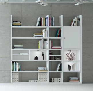 Wohnwand Bücherwand Dekor Lack weiß Hochglanz LED-Beleuchtung Breite 227 cm
