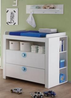 Babyzimmer Olivia in weiß und blau komplett Set 5-teilig mit Kleiderschrank Babybett Wickelkommode mit Regal und Wandregal - Vorschau 2
