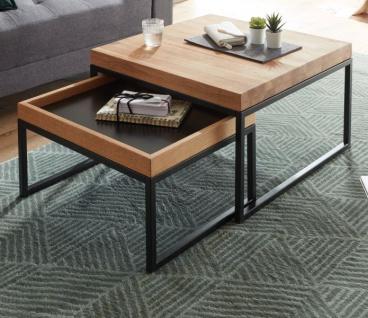 """Couchtisch """" Lubao"""" 2er Set in Asteiche / Eiche massiv geölt Beistelltisch mit Metall schwarz 2 x Tisch Wohnzimmer"""