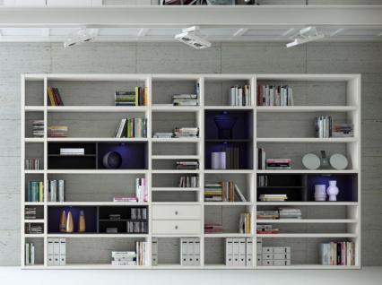 Wohnwand Bücherwand MDor Dekor Lack weiß matt schwarz LED-Beleuchtung Breite 385 cm