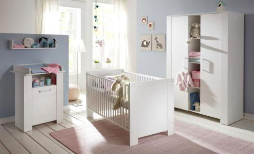 Babyzimmer komplett Set Miri weiß Pinie 3 - 6 teilig mit Kleiderschrank 130 cm