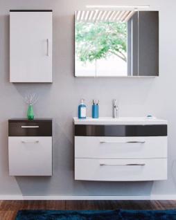 Badmöbel Set Rima in anthrazit und weiß Hochglanz Badkombination 6-tlg. inkl. Waschbecken und Spiegellampe
