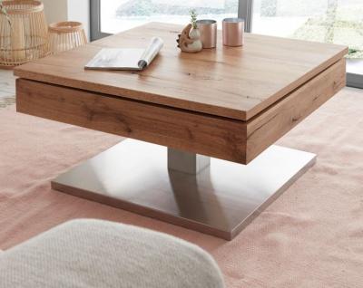 """Couchtisch """" Monrovia"""" in Asteiche / Eiche Beistelltisch mit drehbarer Tischplatte und Edelstahl 75 x 75 cm"""