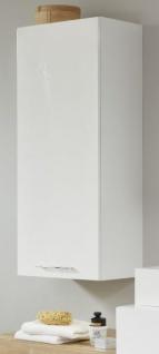 Badezimmer Hängeschrank One in Hochglanz weiß Lack Badschrank 35 x 103 cm Badmöbel