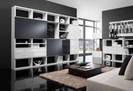 Wohnwand Bücherwand Lack weiß Hochglanz mit Schiebetüren Hochglanz schwarz