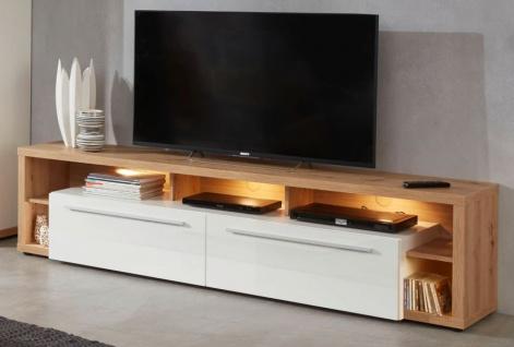 TV-Lowboard Odino in Hochglanz weiß und Asteiche / Eiche Fernsehtisch 213 x 53 cm TV-Unterteil