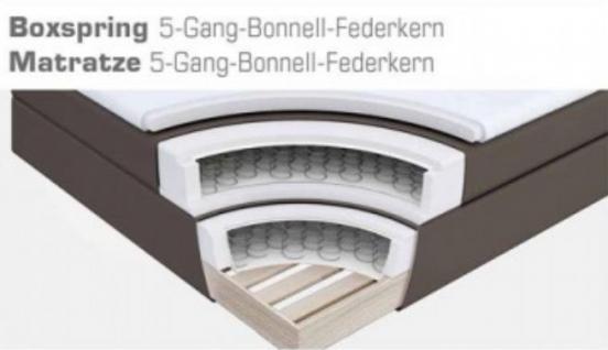 Boxspringbett Claudine 160 x 200 cm Leder Optik braun 5-Gang-Bonell Federkern Matratze Hotelbett - Vorschau 4