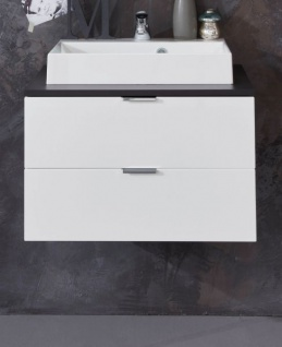 Waschtisch Concept1 in Hochglanz weiß und Graphit grau komplett Set 2-teilig Waschbeckenunterschrank mit Waschbecken - Vorschau 2