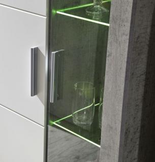 Wohnwand Creek weiß mit Industrie Beton Stone Design inkl. LED-Beleuchtung - Vorschau 3