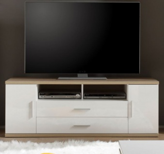 TV-Unterteil Lowboard Arena in Hochglanz weiß und Sonoma Eiche hell sägerau Fernsehtisch 150 x 55 cm