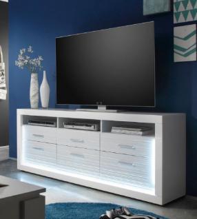 TV Unterteil Lowboard Starlight weiß Hochglanz mit Rillenoptik inklusive LED-Beleuchtung