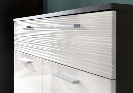 Flurgarderobe komplett Set Smart Hochglanz weiß und grau Dekor 4-teilig - Vorschau 2