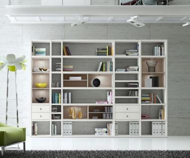 Wohnwand Bücherwand MDor Dekor Lack weiß matt Eiche Natur LED-Beleuchtung Breite 311 cm