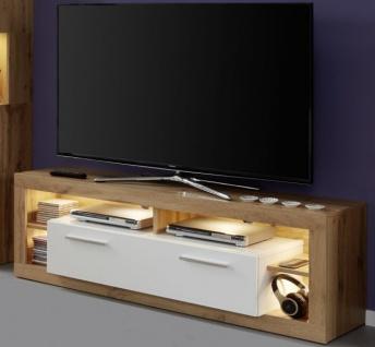 TV-Lowboard Rock in weiß Hochglanz und Wotan Eiche TV-Unterteil 150 x 48 cm