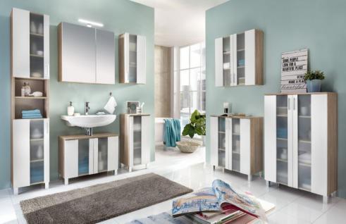 Badezimmer Badmöbel Set 8-teilig Porto Eiche / weiß