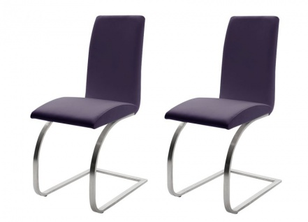 2 x Stuhl Maui in Violett Kunstleder und Edelstahl Freischwinger Flachrohr Esszimmerstuhl 2er Set