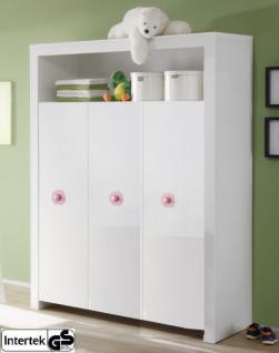 Babyzimmer Kleiderschrank Olivia weiß Applikationen rosa 130 x 186 x 54 cm