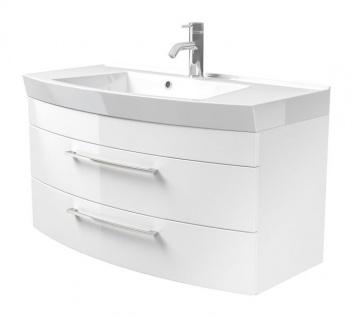 Waschbeckenunterschrank Rima in Hochglanz weiß Waschplatz hängend inkl. Waschbecken Set 2-tlg. 100 x 57 cm