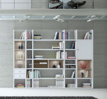 Wohnwand Bücherwand Dekor Lack weiß Hochglanz Eiche Natur LED-Beleuchtung Breite 298 cm