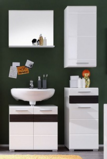 Badezimmer Set Badmöbel Mezzo weiß Hochglanz mit Eiche dunkel 4-teilig 160 x 182 cm