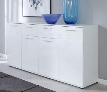 Wohnzimmer Kommode Ice in weiß Hochglanz Sideboard Esszimmer Anrichte 160 x 84 cm