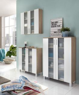 Badezimmer Badmöbel Set Porto in weiß und Eiche sägerau hell Badkombination 3-teilig mit Glas satiniert