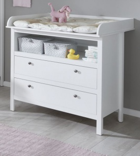 Babyzimmer Ole komplett Set 4-teilig weiß mit Wickelkommode Babybett XXL-Kleiderschrank und Wandregal - Vorschau 2