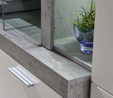 Wohnwand Creek weiß mit Industrie Beton Stone Design inkl. LED-Beleuchtung - Vorschau 2