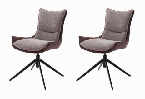 "2 x Stuhl "" Kitami"" in rostbraun Chenille-Optik 4-Fußstuhl 360° drehbar Esszimmerstuhl 2er Set"