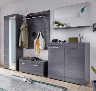 Garderobe Set 5-teilig Amanda in Hochglanz grau Flur Garderobenkombination 264 x 195 cm