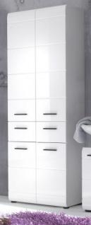 """Badezimmer: Hochschrank """" Skin"""" Hochglanz weiß (60x182 cm)"""