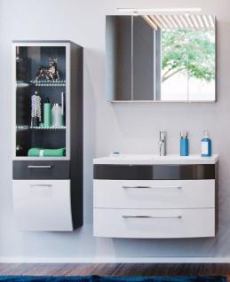 Badmöbel Set Rima in anthrazit und weiß Hochglanz Badkombination 5-tlg. inkl. Waschbecken und Spiegellampe