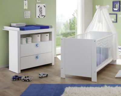 Babyzimmer Olivia in weiß und blau komplett Set 2-teilig mit Wickelkommode und Babybett - Vorschau 1