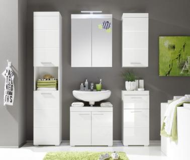 Badezimmer Spiegelschrank Amanda inkl. LED Beleuchtung Hochglanz weiß tiefgezogen 2-türig - Vorschau 2