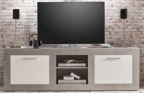 Tv Lowboard Grau Hochglanz Industrie Beton Kaufen