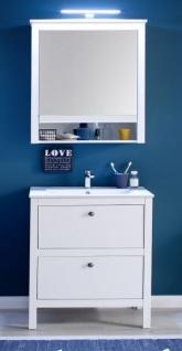 Badmöbel Set Ole Landhaus weiß 3-teilig komplett mit Keramik-Waschbecken 61 x 192 cm - Vorschau 2