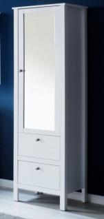Badezimmer Hochschrank Ole in weiß 49 x 192 cm Badmöbel mit Spiegel