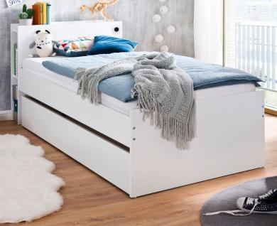 Jugendzimmer Bett Tommy in weiß inkl. USB-Port Kinderzimmer Liegefläche 90 x 200 cm