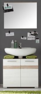 Badkombination SetOne in Hochglanz weiß und Eiche San Remo Badmöbel Set 2-teilig Badezimmer 60 x 174 cm